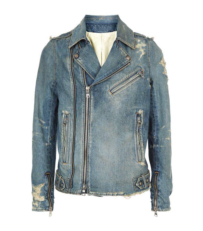 Balmain Distressed Denim Biker Jacket in Blue for Men | Lyst
