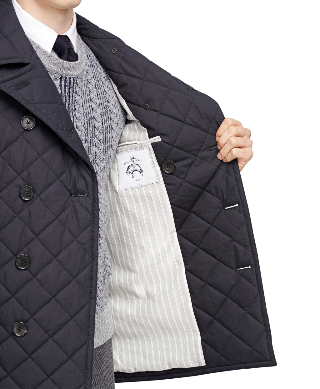 Brooks brothers Quilted Pea Coat in Blue for Men | Lyst : quilted pea coat - Adamdwight.com