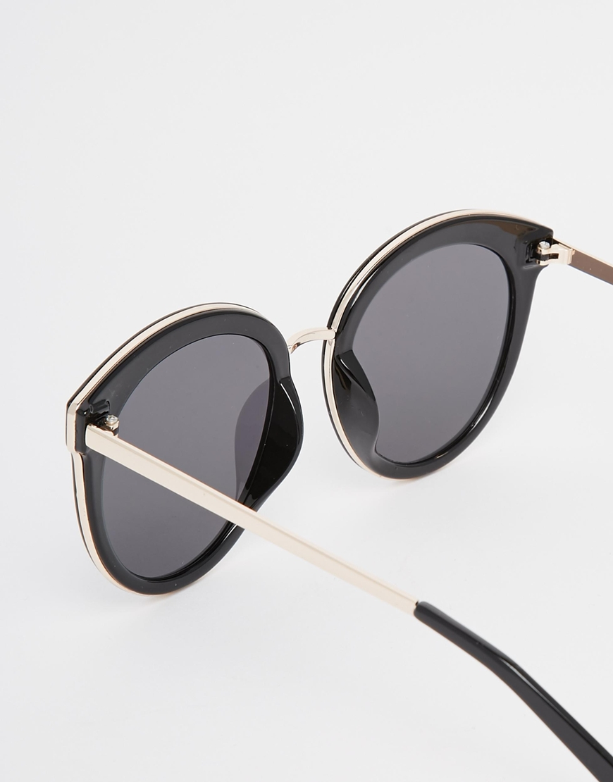Preppy Sunglasses  asos oversized round preppy sunglasses with metal sandwich black