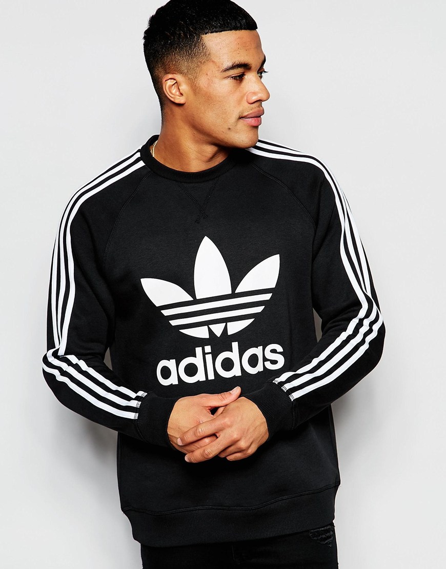 adidas originals trefoil sweatshirt ap8988 in black for men lyst. Black Bedroom Furniture Sets. Home Design Ideas