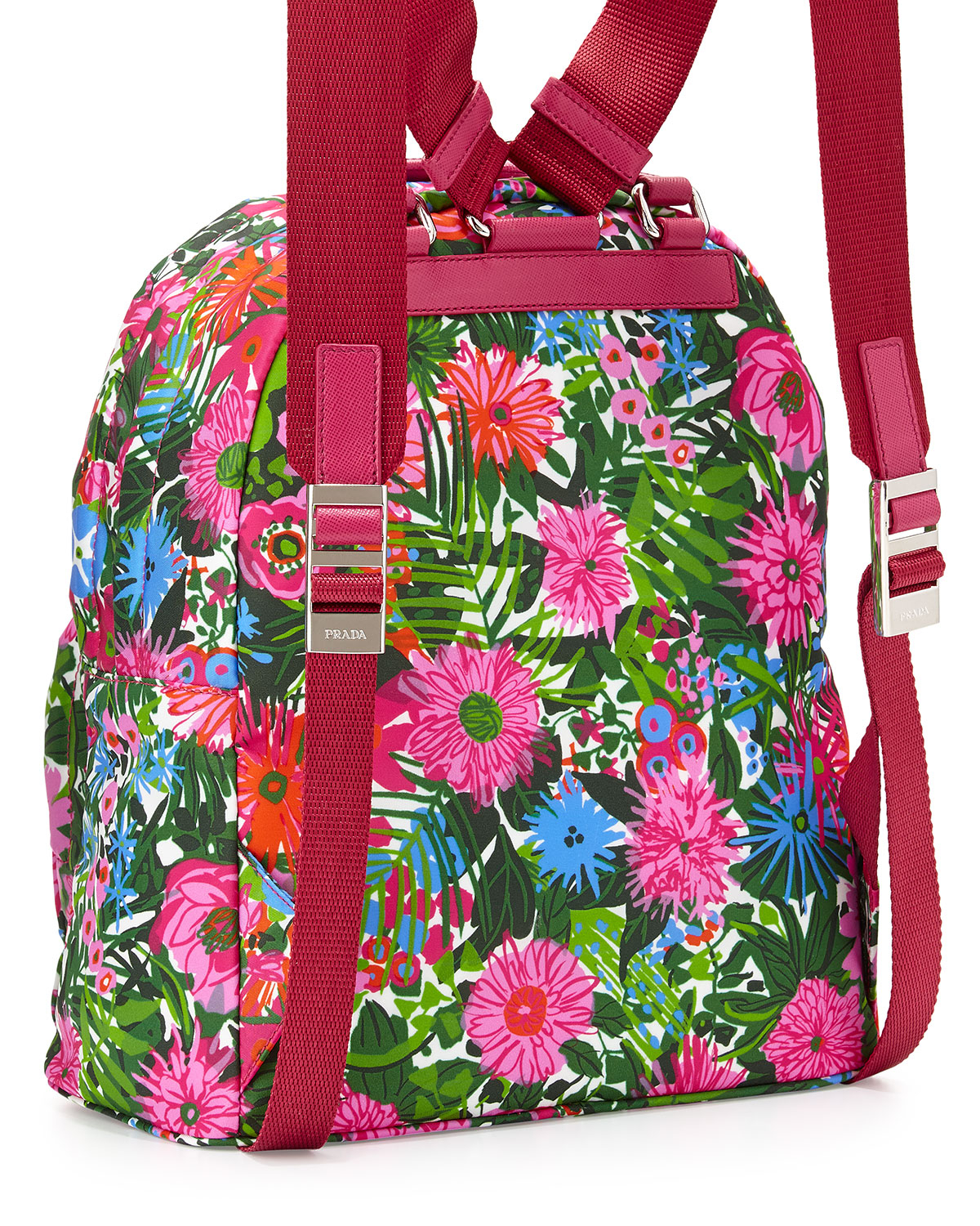 ... new arrivals lyst prada tessuto stampato floral backpack in blue 6bf70  25557 16bd837e2b111