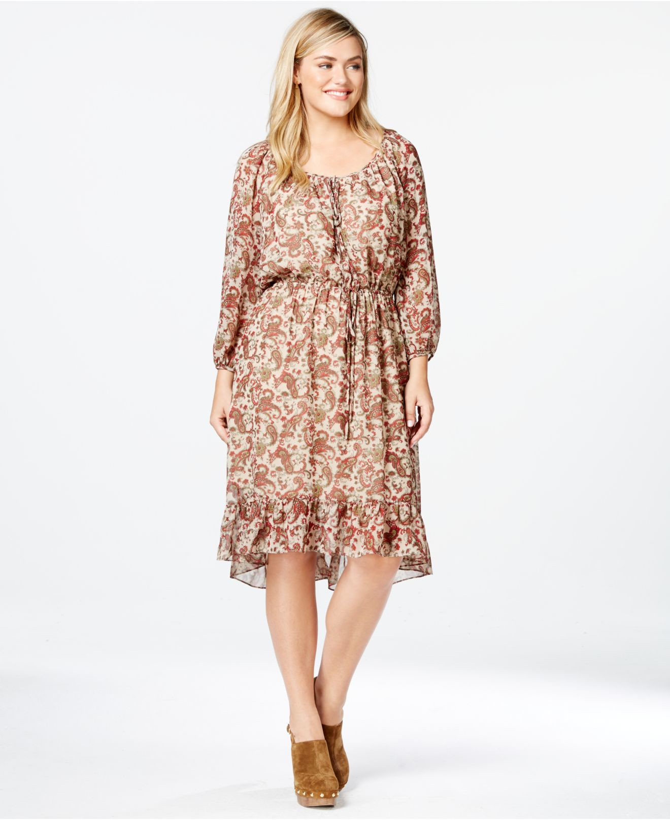 Soprano Plus Size Paisley-print Peasant Dress in Brown - Lyst
