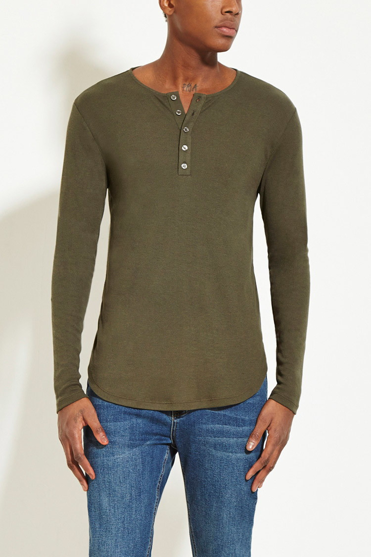 Mens Long Sleeve Henley T Shirt