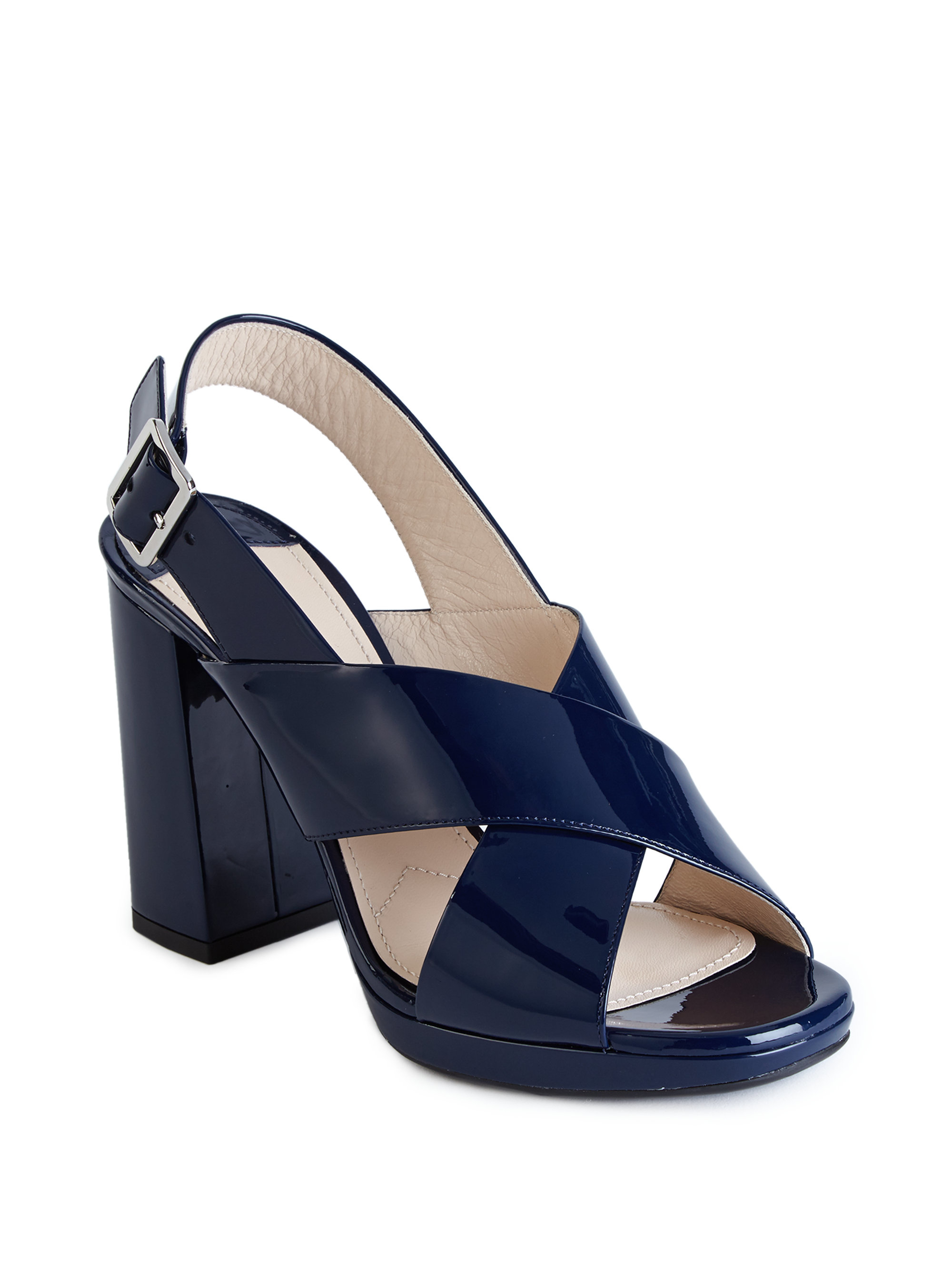 3d918bf212a Lyst - Prada Patent Leather Crisscross Block-heel Sandals in Blue
