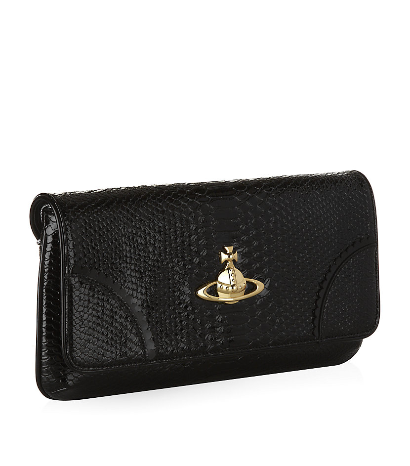 0e94b84e3c Vivienne Westwood Frilly Snake Clutch Bag in Black - Lyst