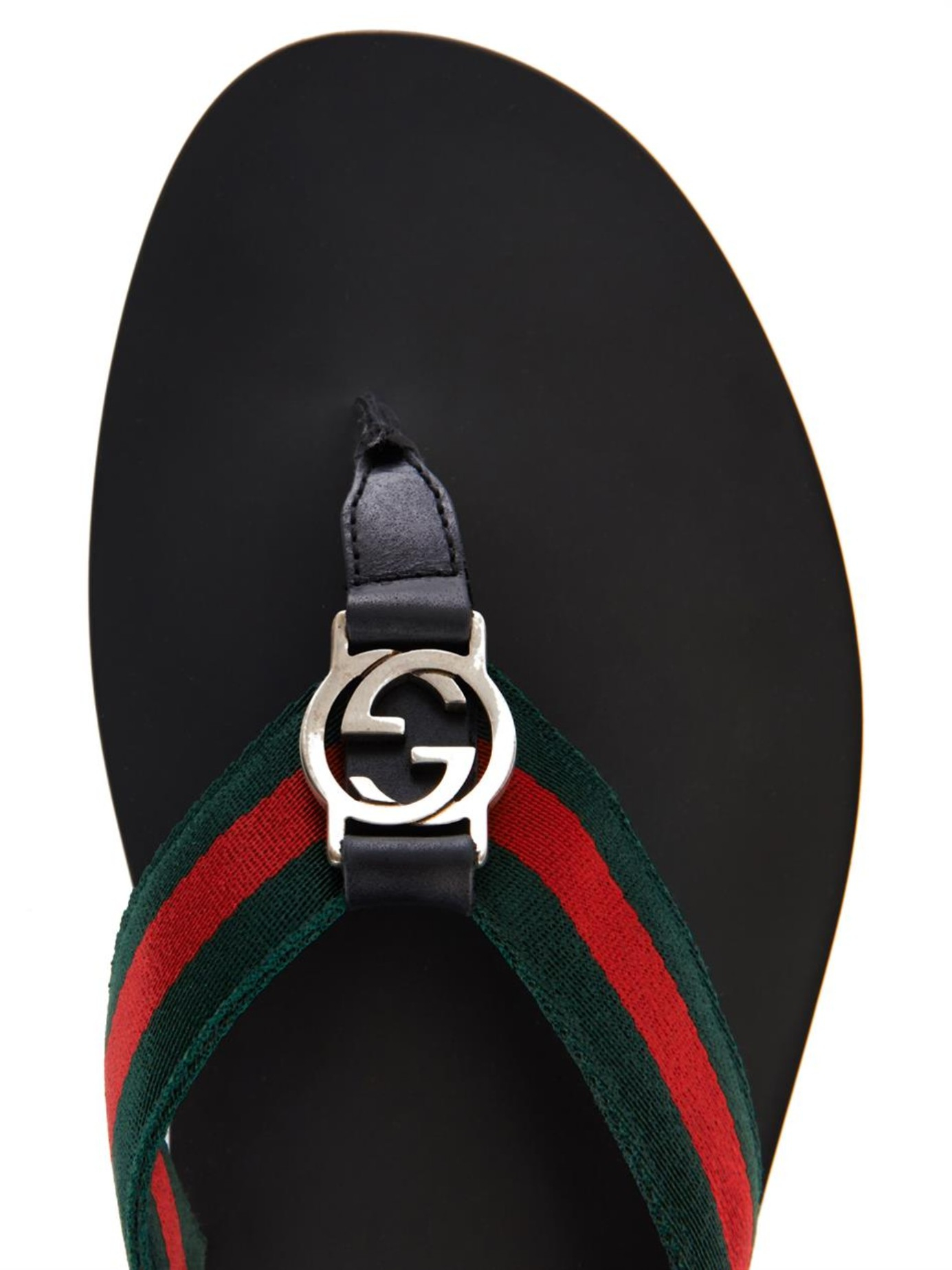 f5170c479bfb Lyst - Gucci Web Thong Flip-Flops in Black for Men