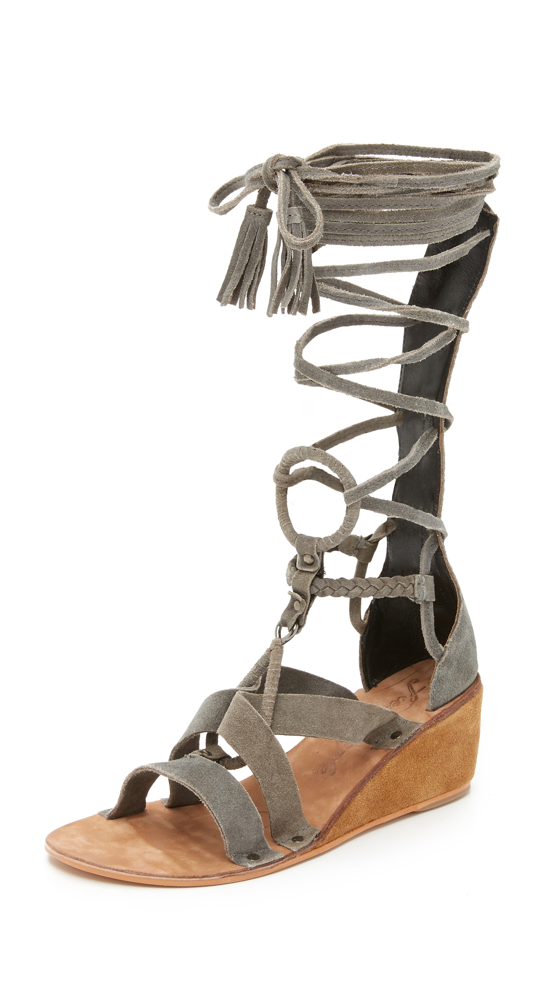 20c70249b74 Lyst - Free People Saltarello Mini Wedge Gladiator Sandals in Gray