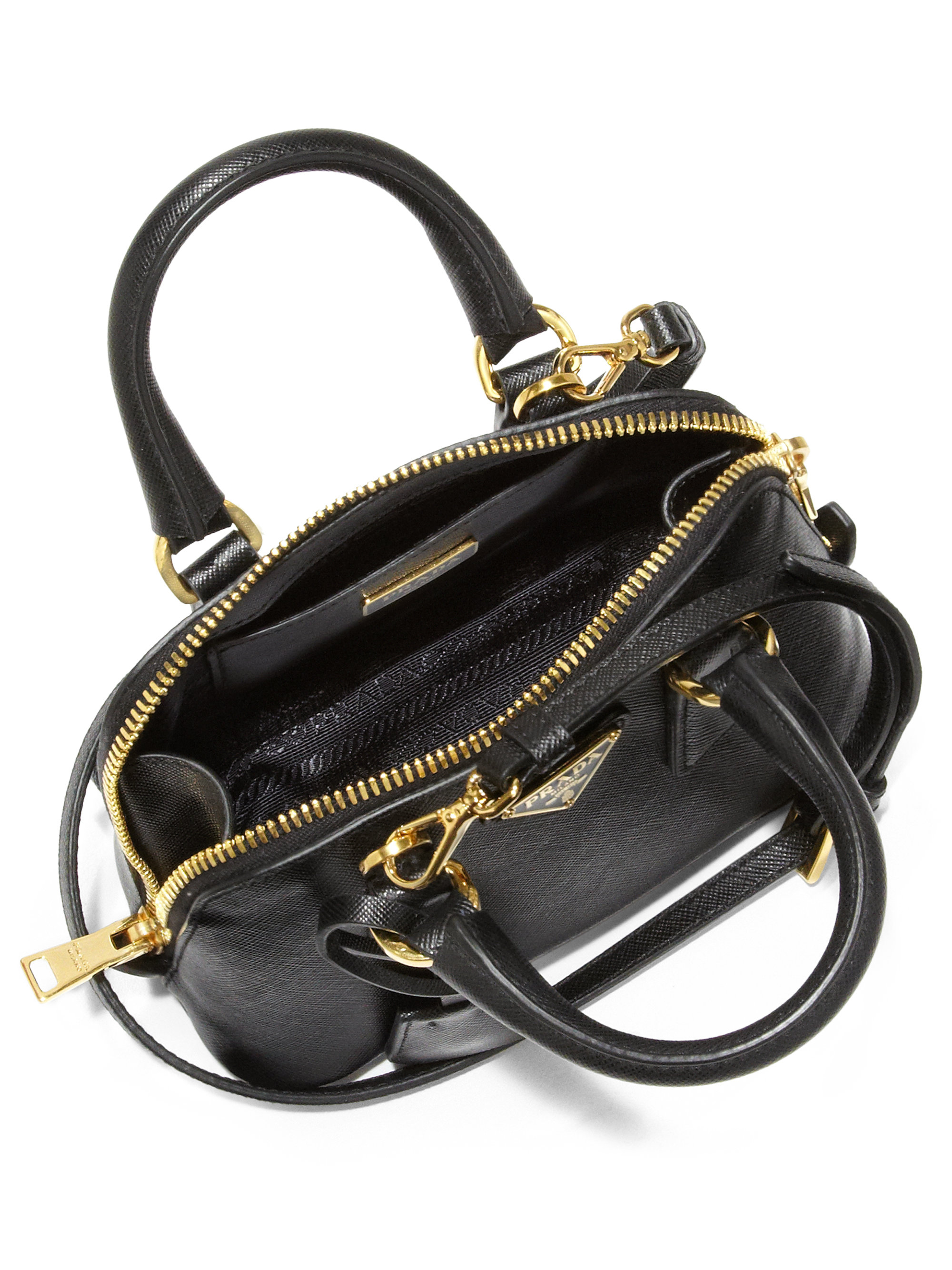 ... bag. nextprev. prevnext wholesale prada saffiano lux double handle mini  satchel in black lyst 9eaf6 385bd ... 56b653c75fb05