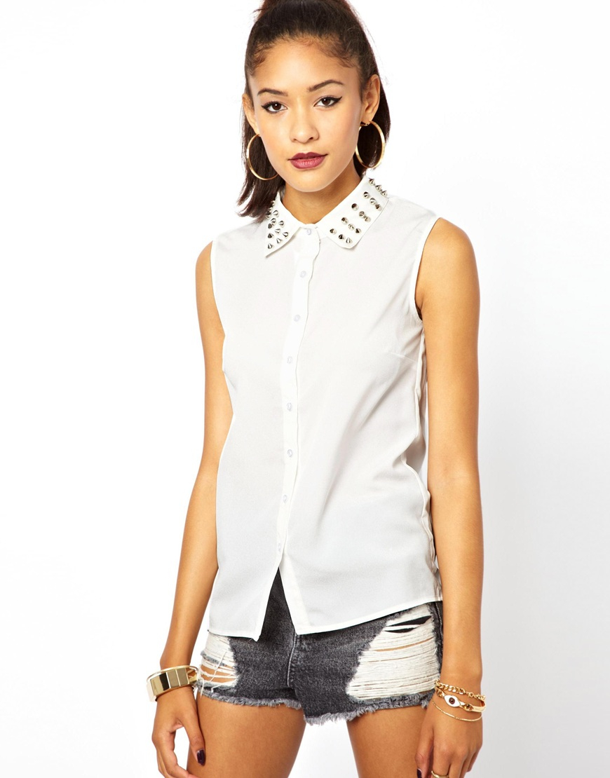 Glamorous Sleeveless Blouse With Studded Collar In White