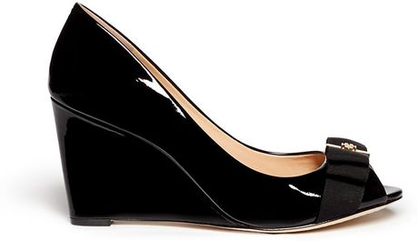 Tory Burch Trudy Patent Leather Open Toe Wedge In Black Lyst