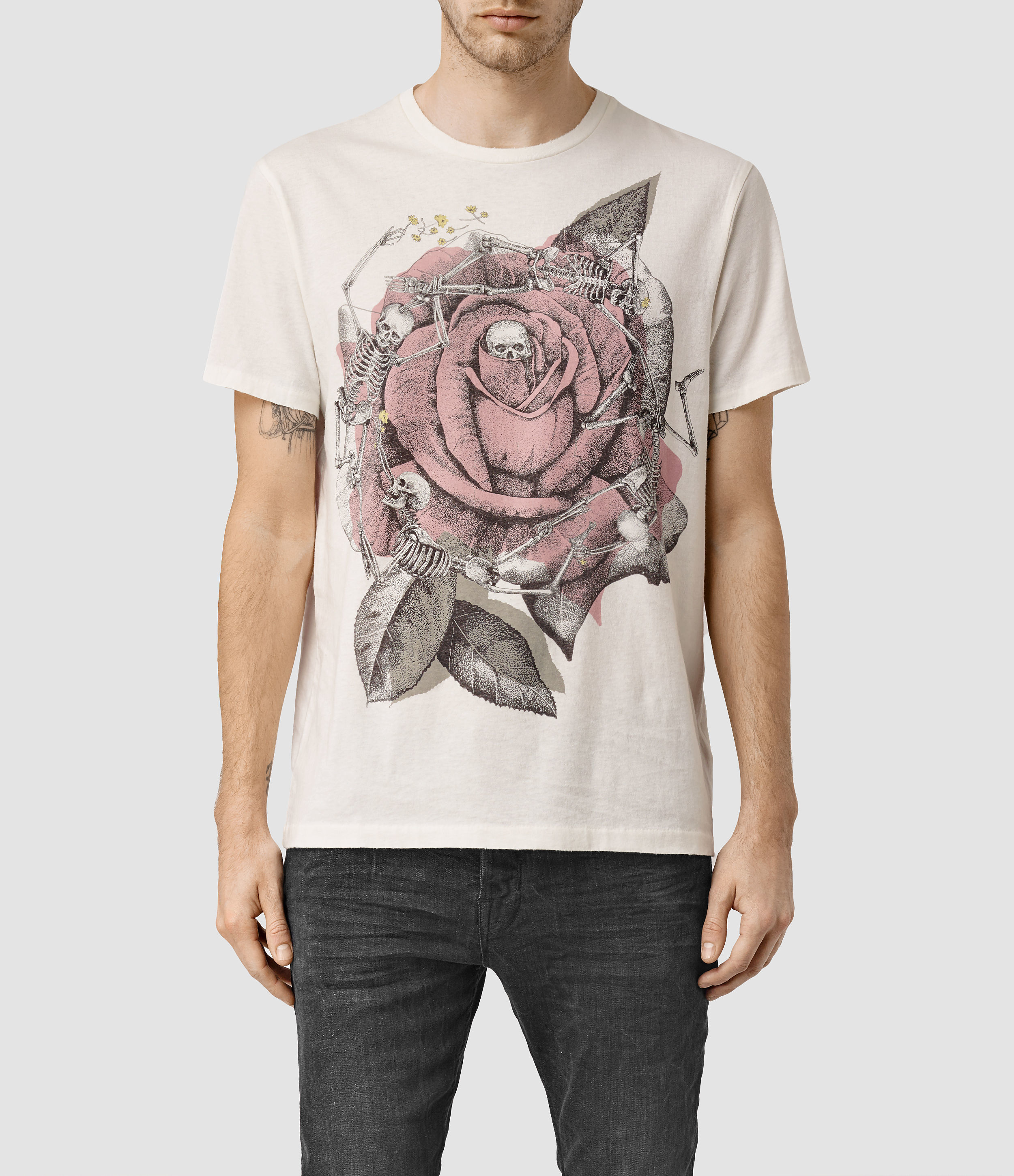 57d703d65 AllSaints Hollywood Rose Crew T-shirt Usa Usa in White for Men - Lyst