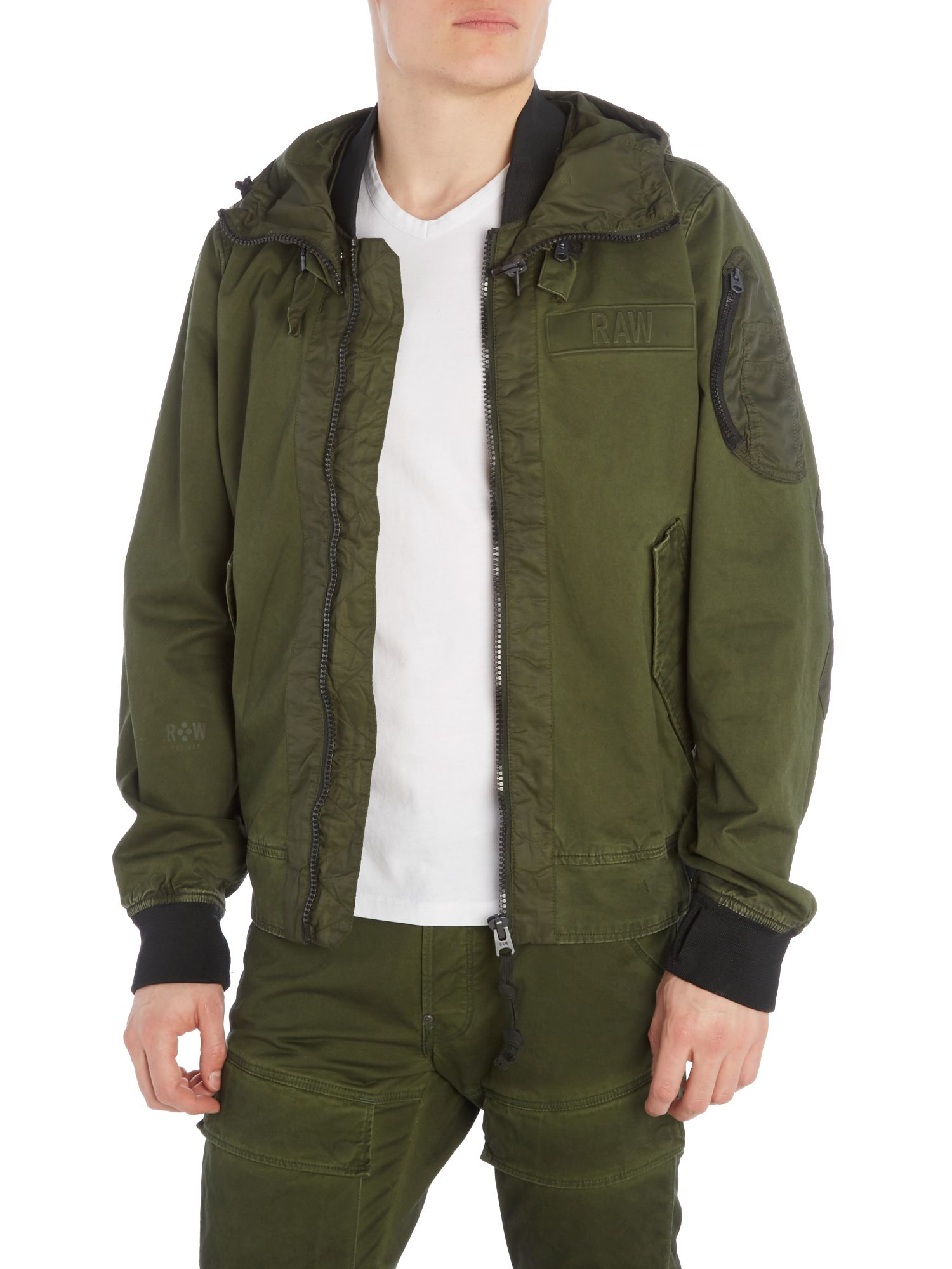 g star raw submarine zip through hooded bomber jacket in green for men lyst. Black Bedroom Furniture Sets. Home Design Ideas