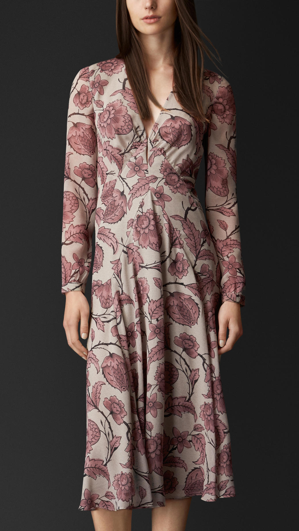 Lyst Burberry Floral Print Layered Silk Dress