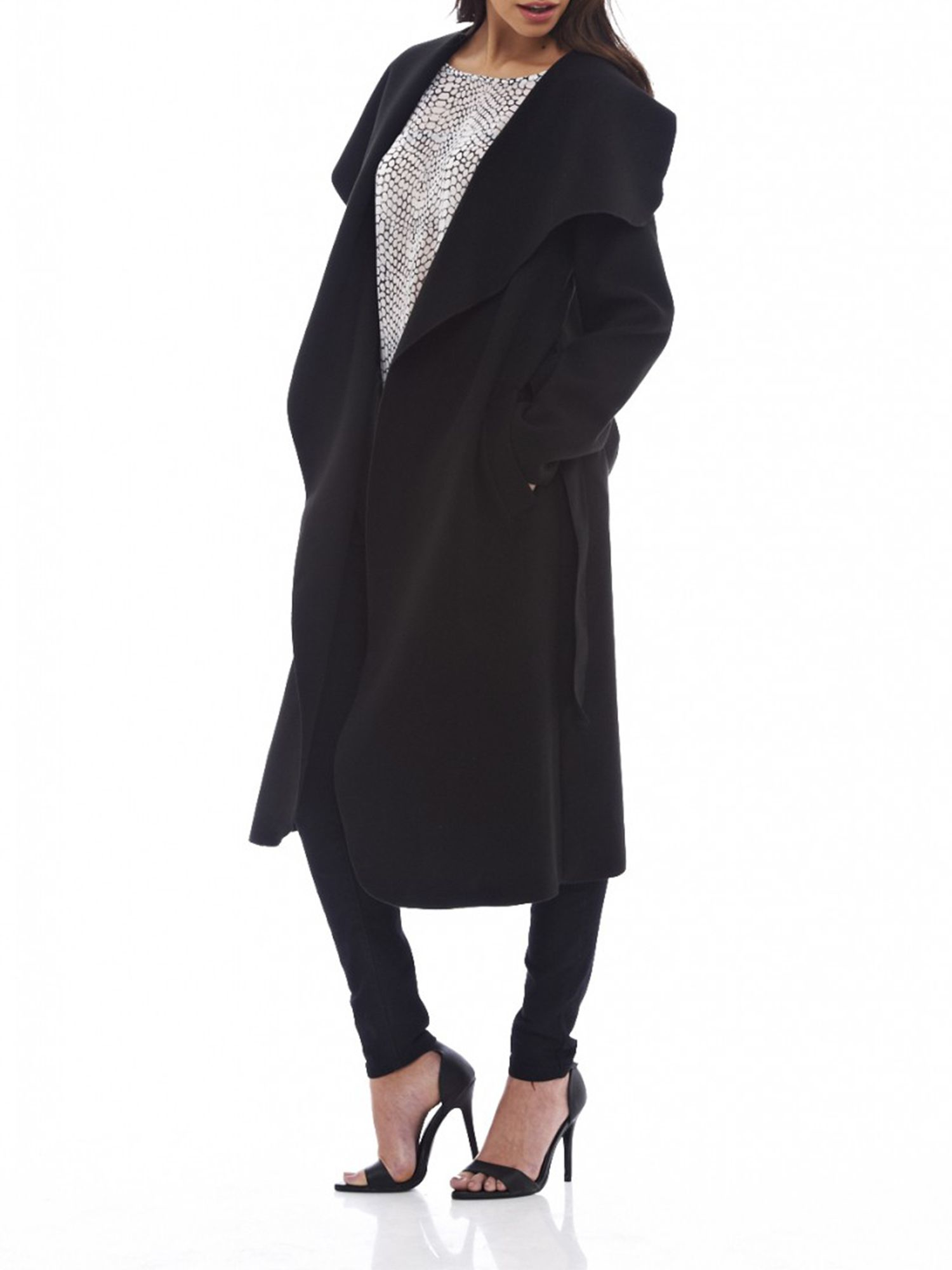Ax paris Waterfall Belted Coat in Black | Lyst