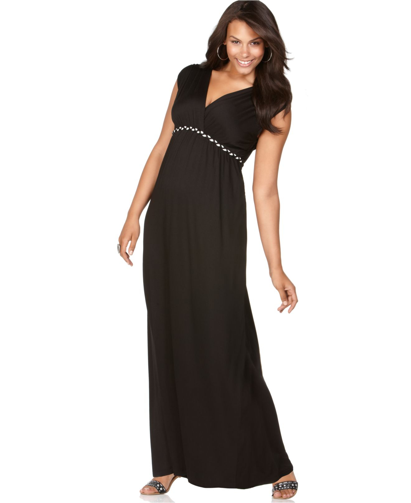 Lyst Soprano Plus Size Cap Sleeve Braided Empire Maxi Dress In Black