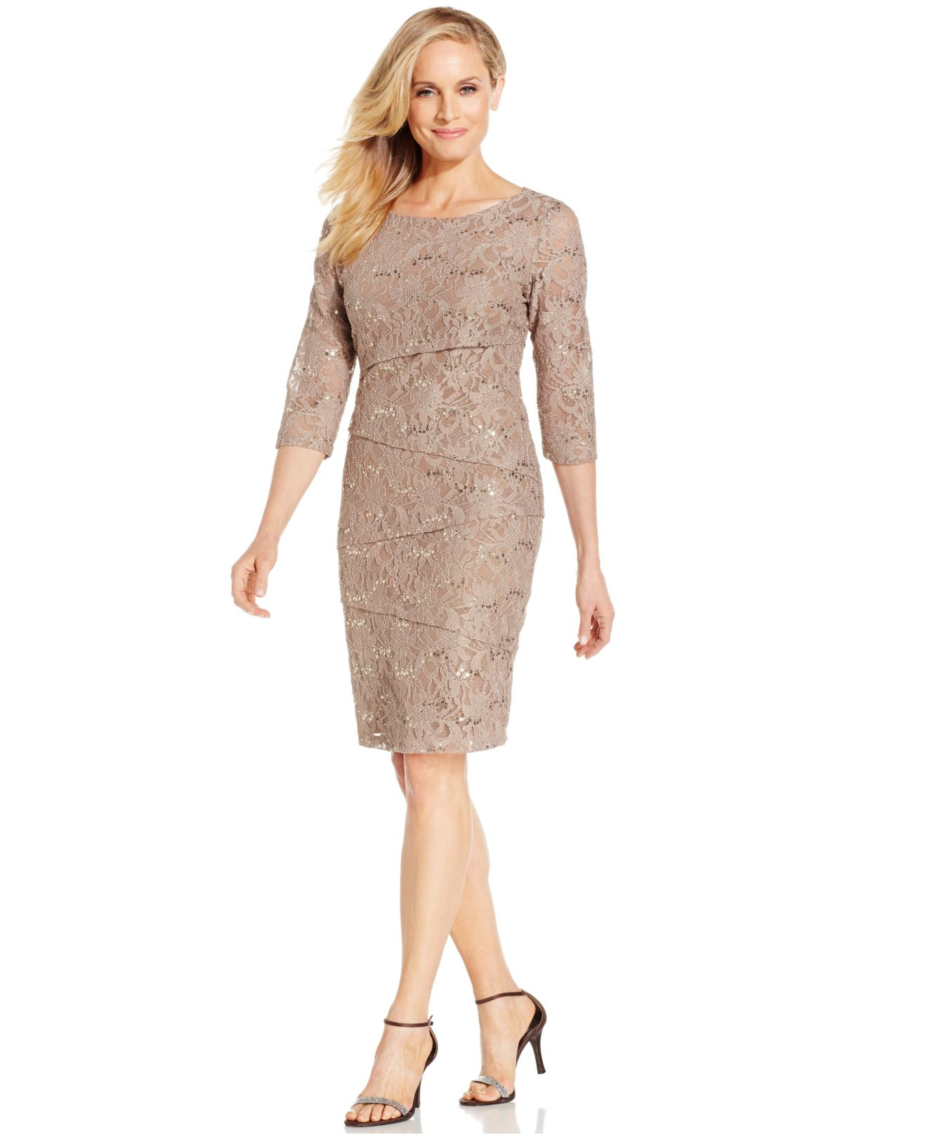 ca14ddab10 Ronni Nicole Tiered Sequin Lace Dress in Brown - Lyst
