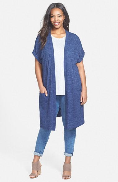 Sejour 'valencia' Short Sleeve Long Open Front Cardigan in Blue | Lyst