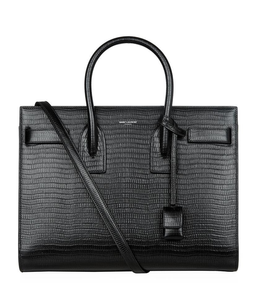 Saint Laurent Small Lizard Embossed Sac De Jour In Black,animal Print