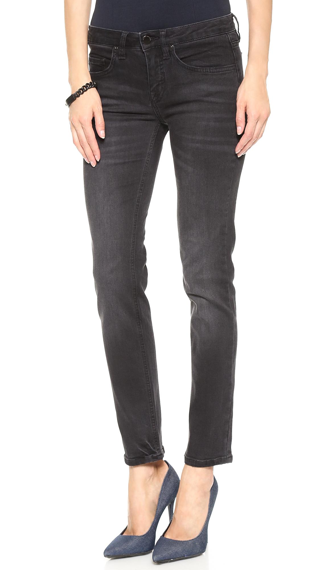 victoria beckham ankle slim jeans washed black in black lyst. Black Bedroom Furniture Sets. Home Design Ideas