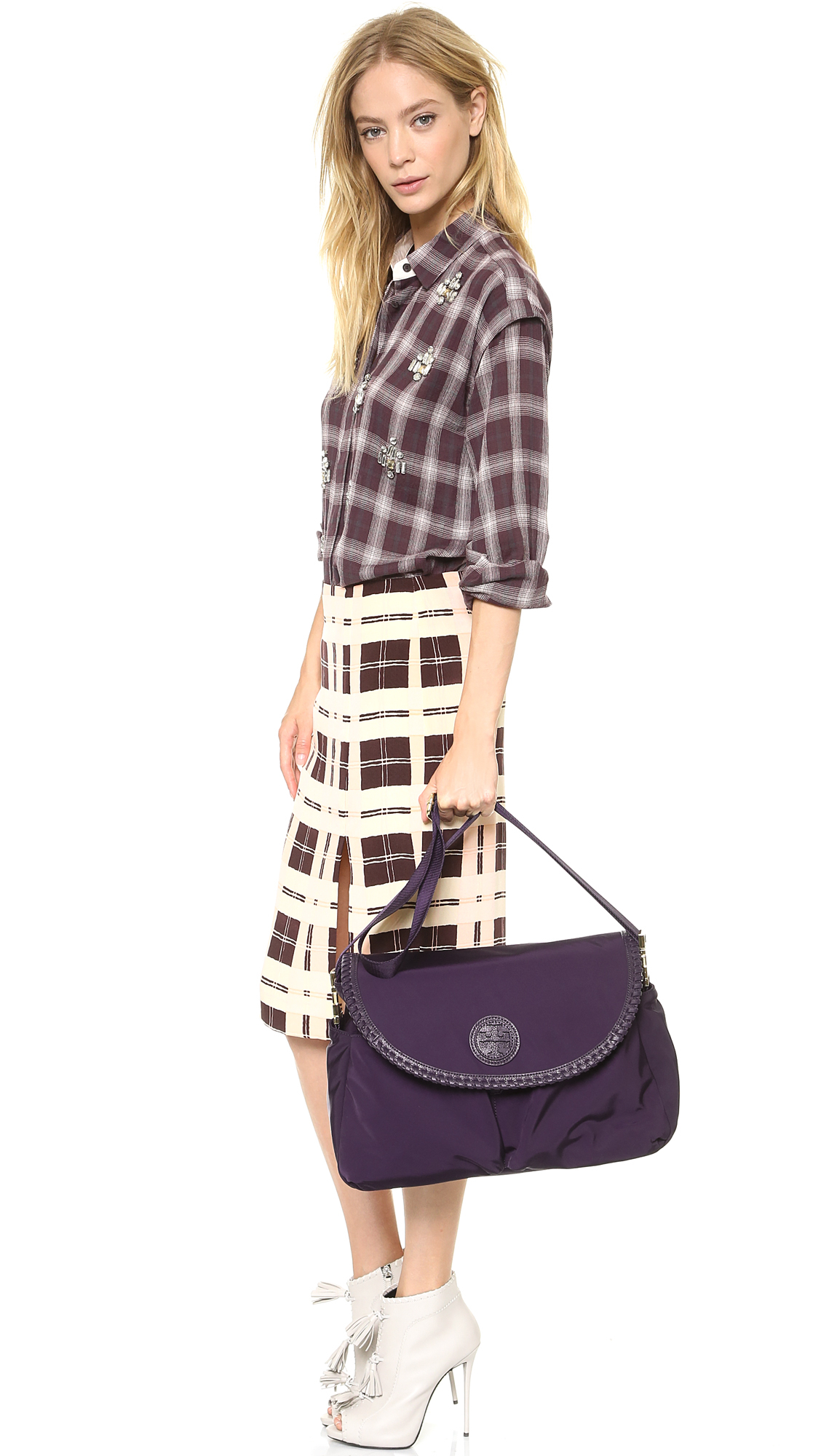Lyst Tory Burch Marion Nylon Baby Bag Blue Ink In Purple