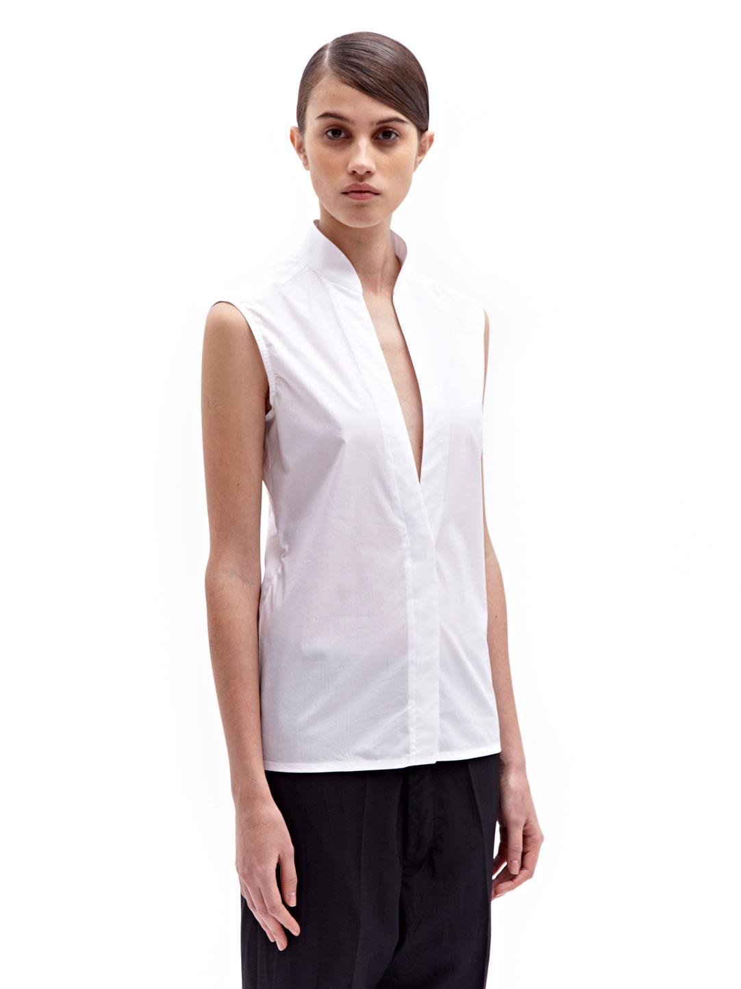 Paco Rabanne Womens Cotton Sleeveless Shirt In White