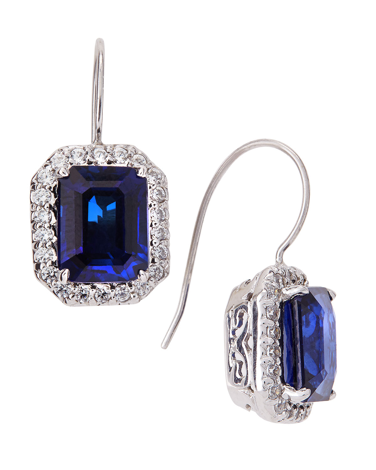 Fantasia Marquise Cluster Cubic Zirconia & Synthetic Sapphire Earrings g9C8ako