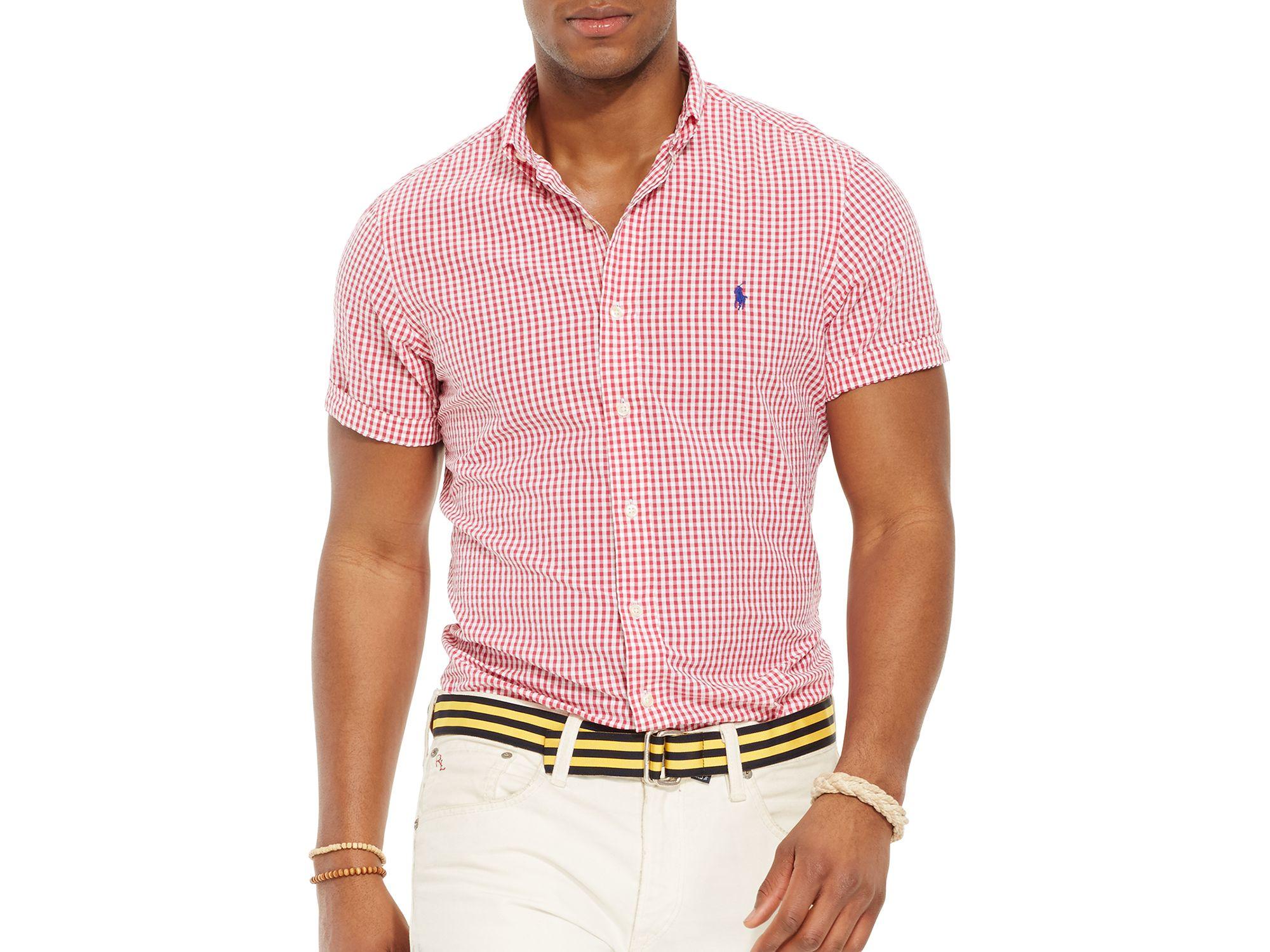 Ralph Lauren Mens Dress Shirt Classic Button Down Collar Red Bcd