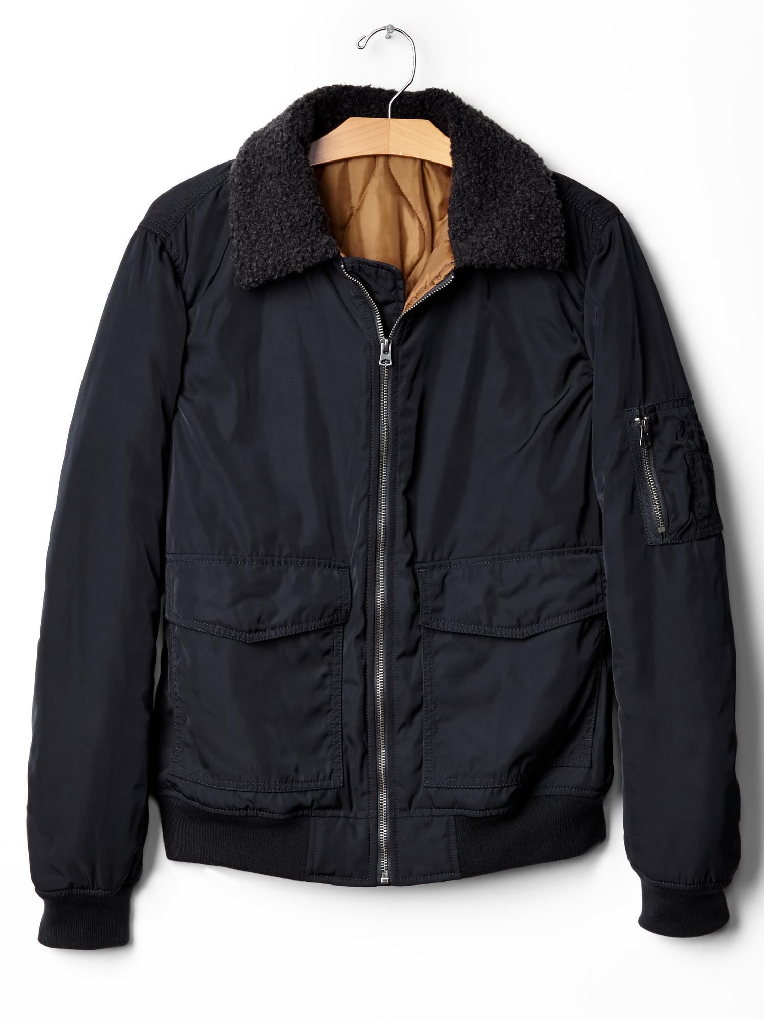 american apparel denim jacket with sherpa collar