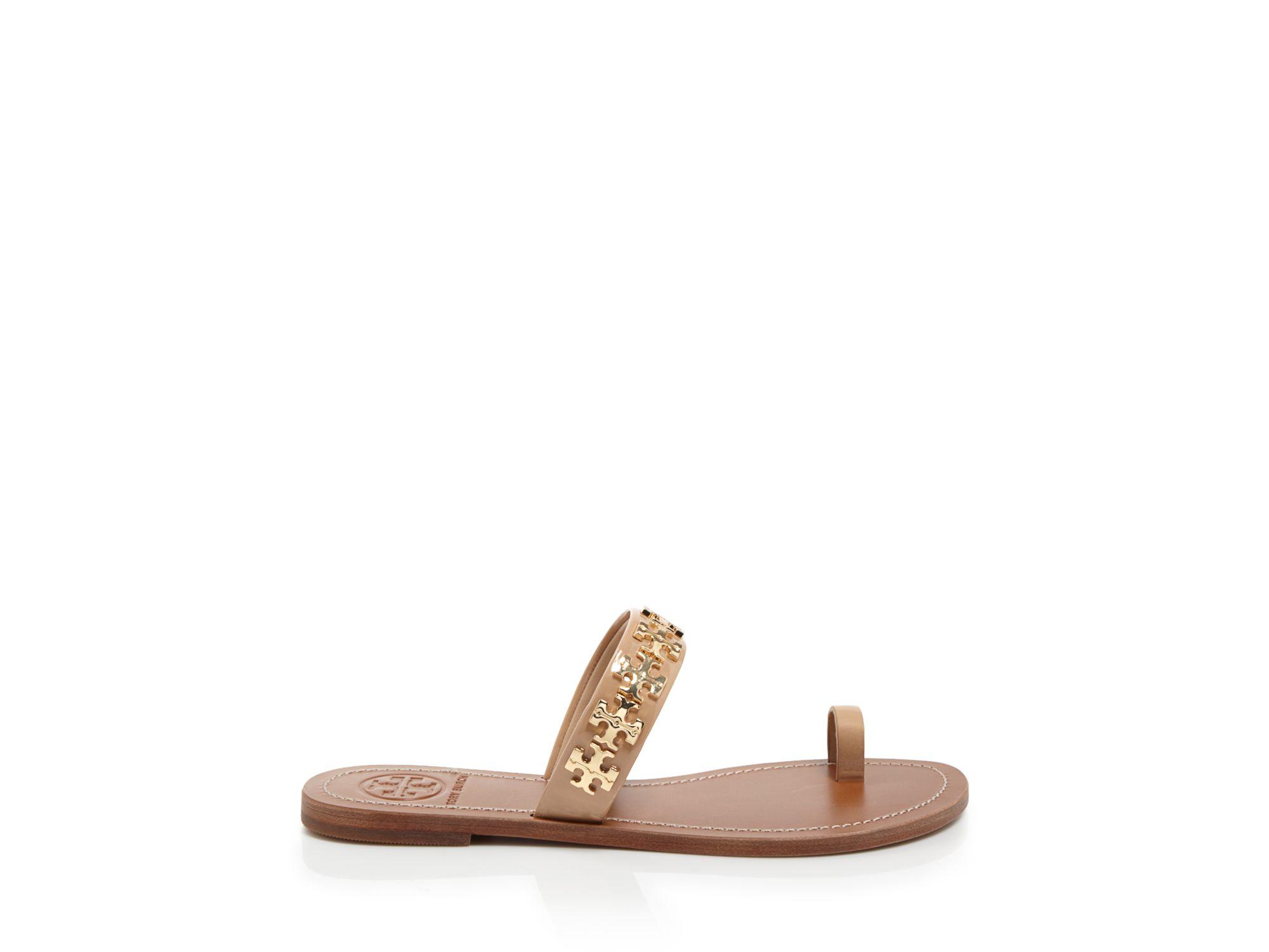 Tory Burch Logo Toe Ring Flat Sandals