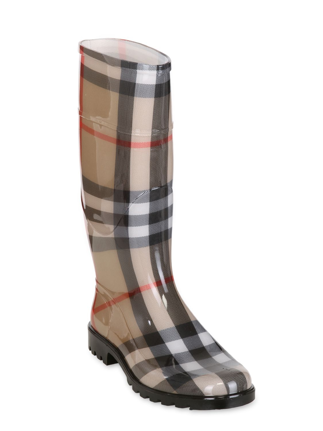 Burberry \'House Check\' Rain Boots in Natural | Lyst