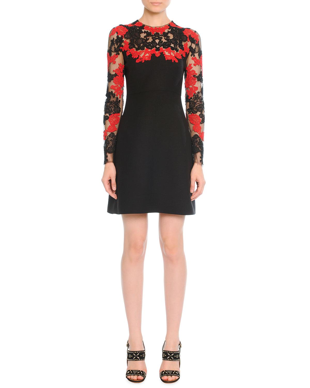 6ac5fd08c39 Valentino Embellished-Tulle   Crepe Cocktail Dress-Black Size 4 Us in Black