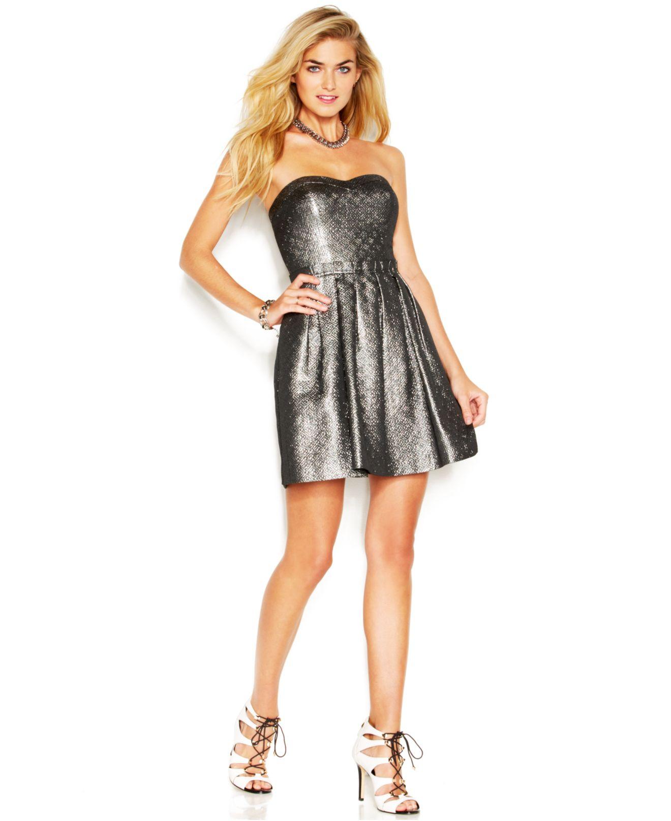 Lyst Guess Strapless Metallic Jacquard Dress In Metallic
