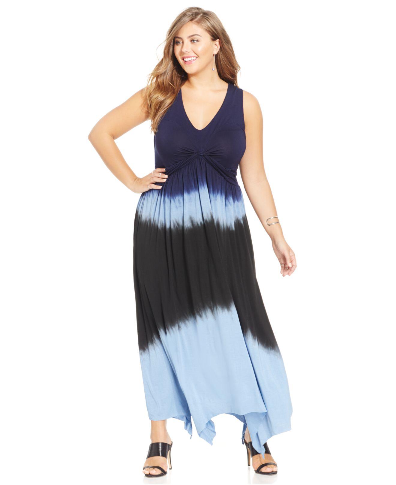 jessica simpson plus size cross-back tie-dye maxi dress in blue | lyst
