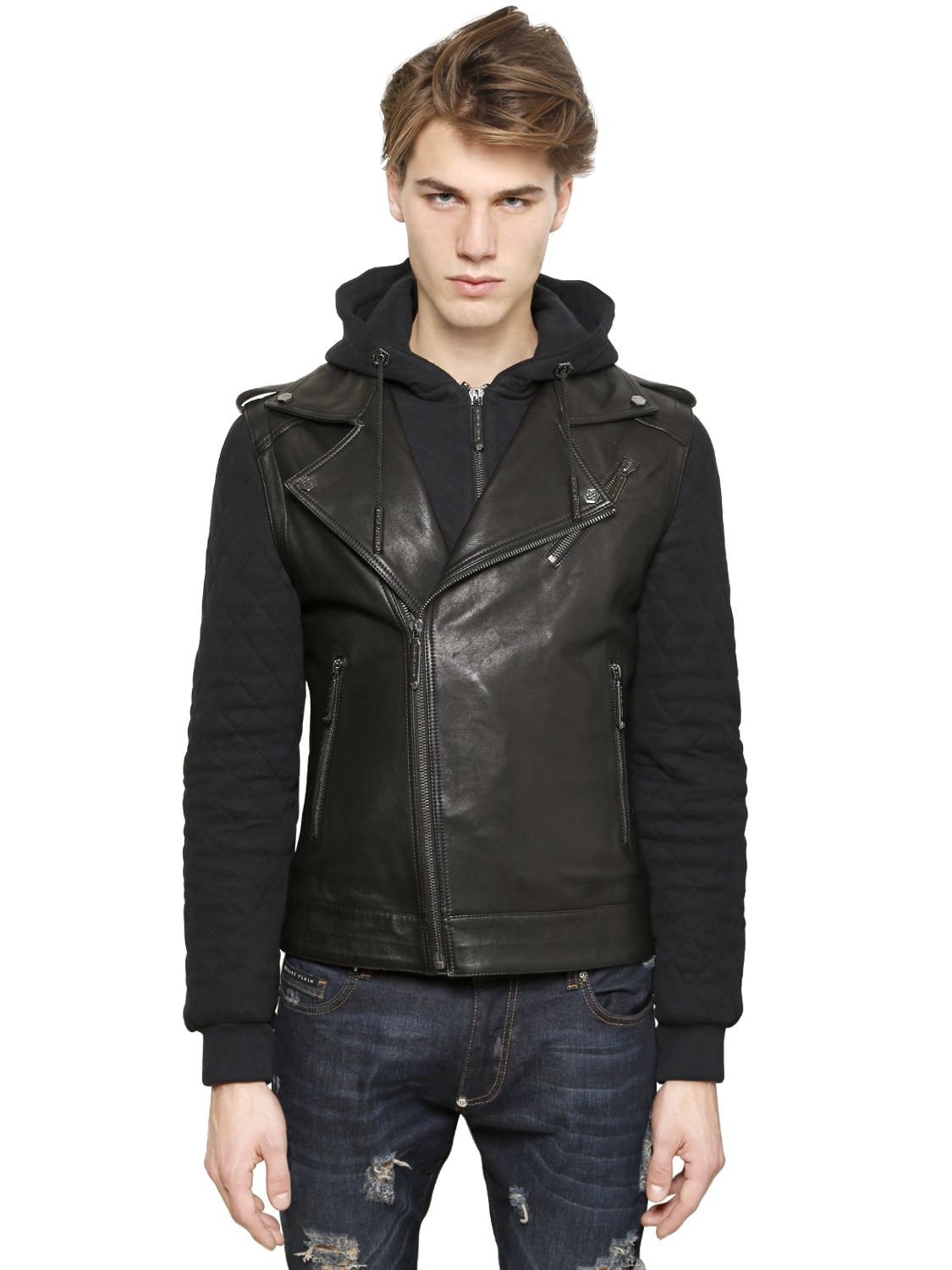 philipp plein hooded sweatshirt biker leather jacket in. Black Bedroom Furniture Sets. Home Design Ideas