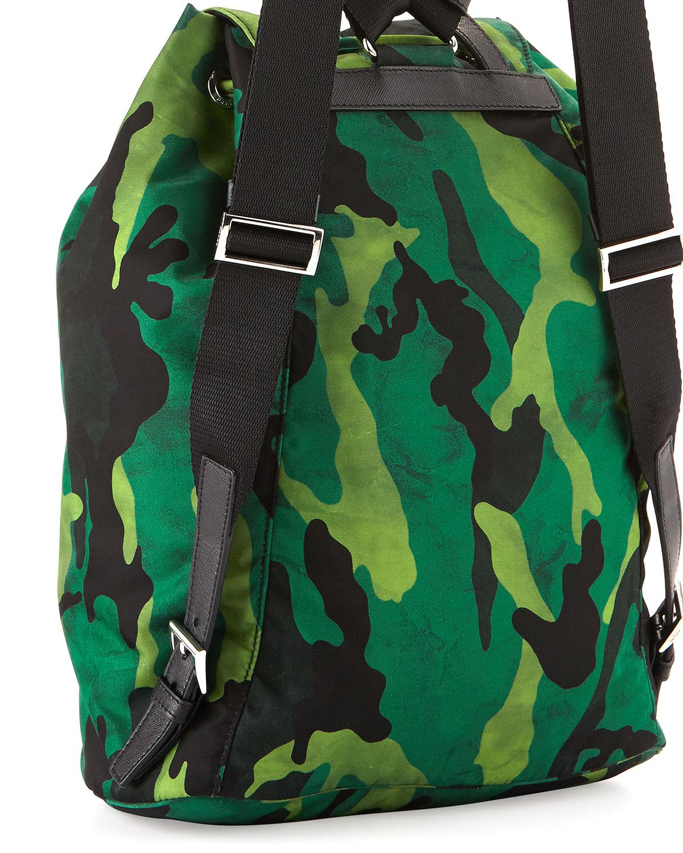 507175761437 Prada Tessuto Camo Nylon Backpack in Green for Men - Lyst