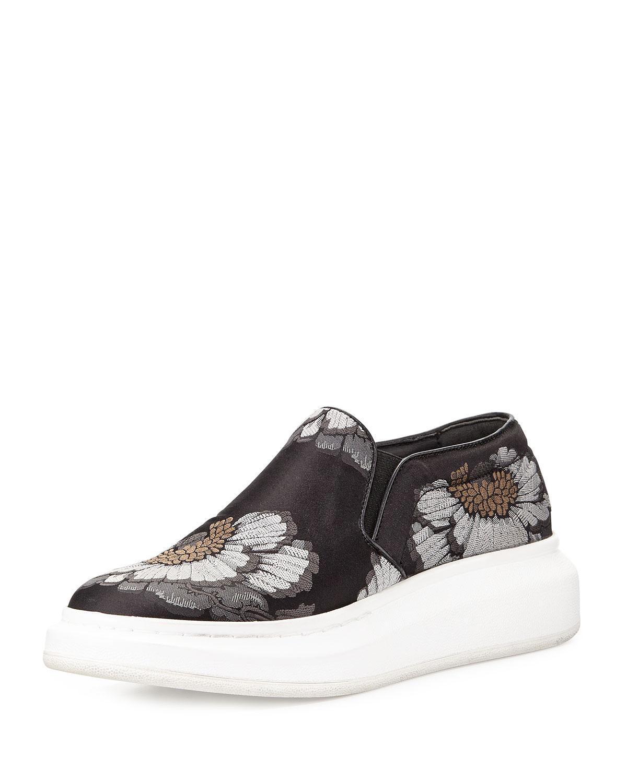 alexander mcqueen floral print skate sneaker in black lyst. Black Bedroom Furniture Sets. Home Design Ideas
