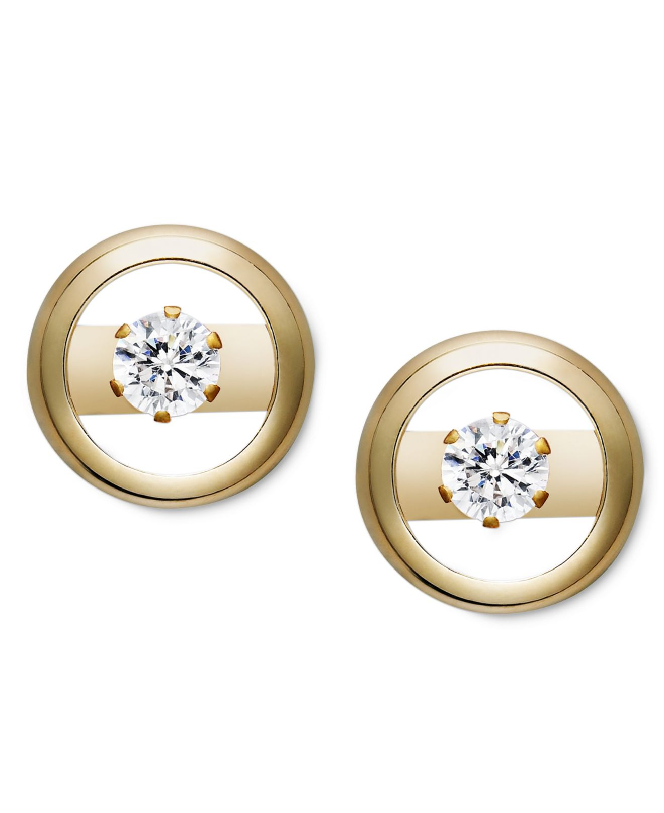 Lyst Macy S 14k Gold Earrings Cubic Zirconia Accent Circle Studs