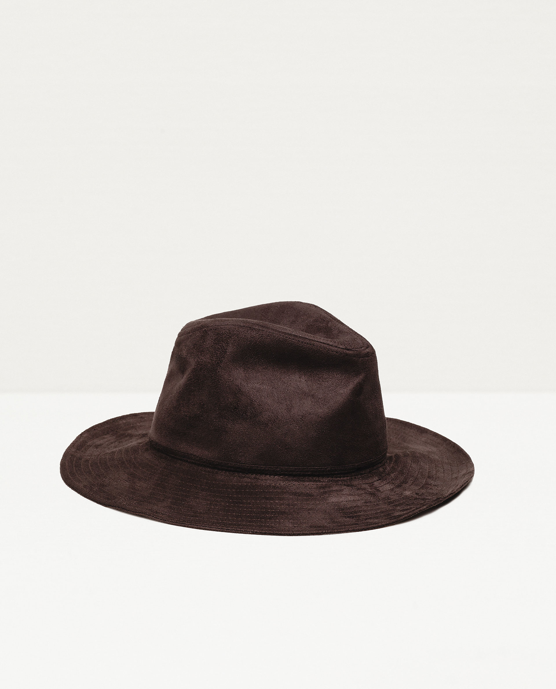 zara wide brim leather effect hat in brown lyst