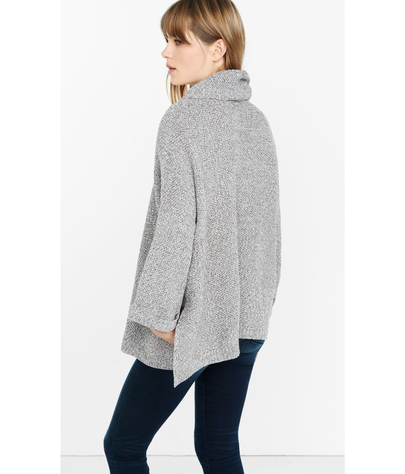 Express Marl Cowl Neck Boxy Sweater in Gray | Lyst