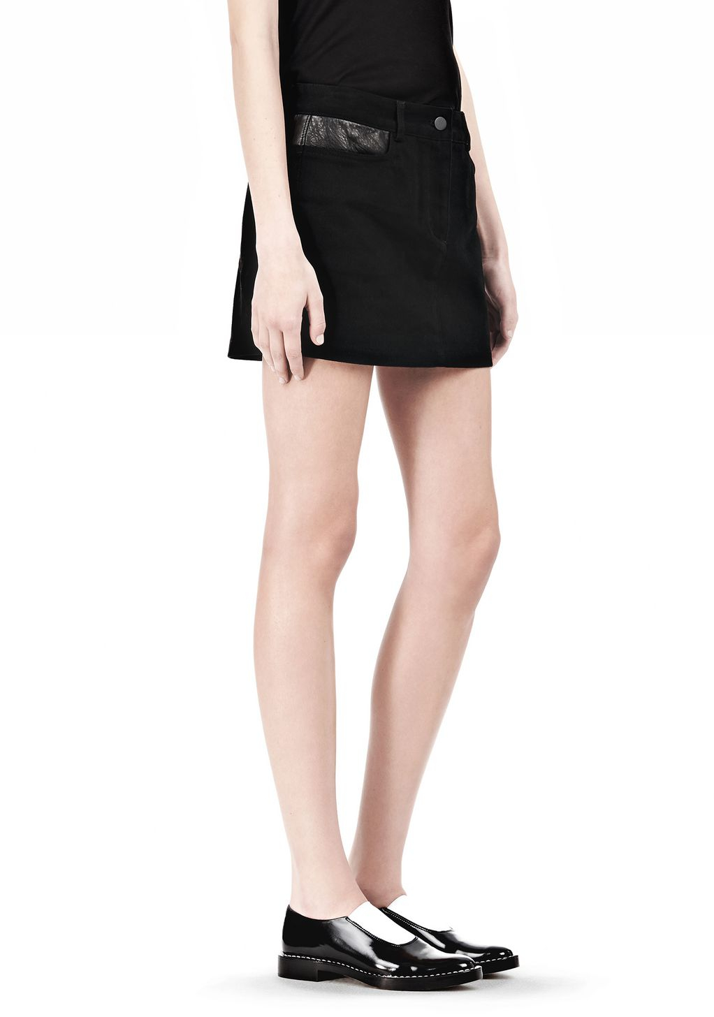 Stretch cotton canvas jean shorts with leather yoke Alexander Wang Classic Cheap Price KeIIEj