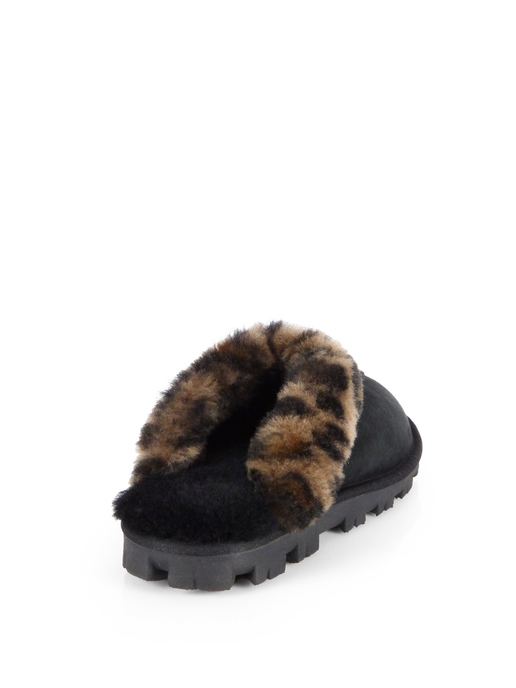 Ugg Coquette Leopard Print Sheepskin Slippers In Black Lyst