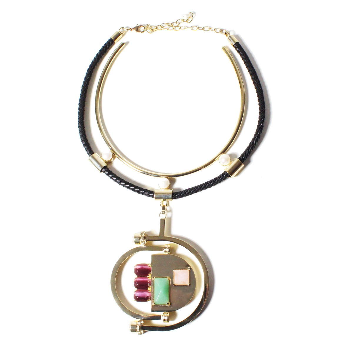 volha aventurine leather cord necklace in pink lyst