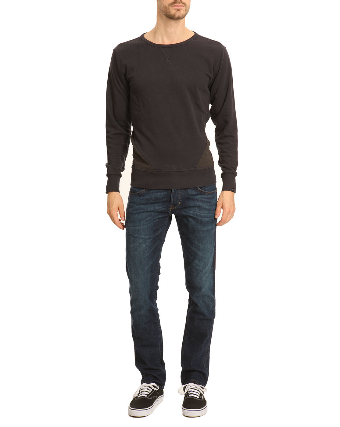 g star raw fless r navy sweater with black detail in blue. Black Bedroom Furniture Sets. Home Design Ideas