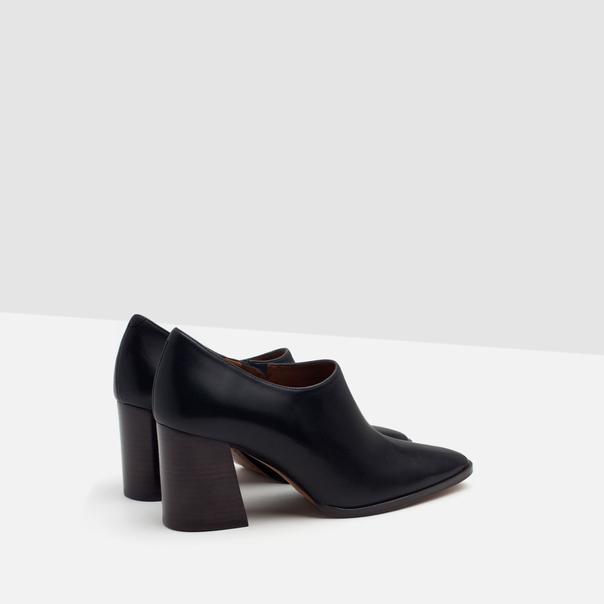 zara leather ankle boot style shoes in black lyst