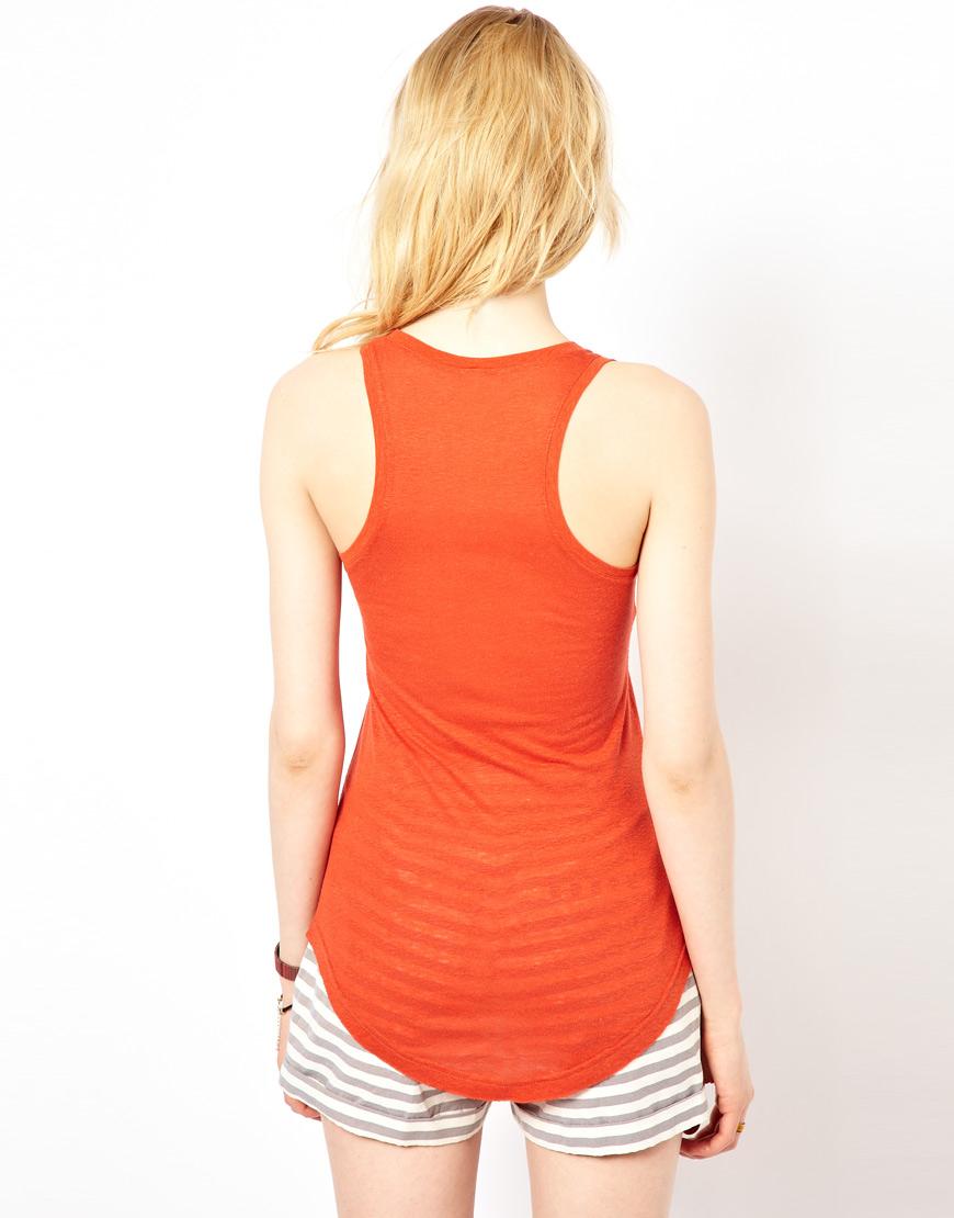 Orange Top With Umbrella Sleeves The Vanca: Iro Treated Silk Jersey Tank Top In Orange