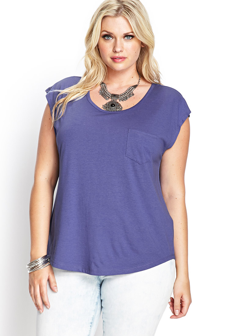 Forever 21 Plus Size Casual Cool Pocket Tee in Purple