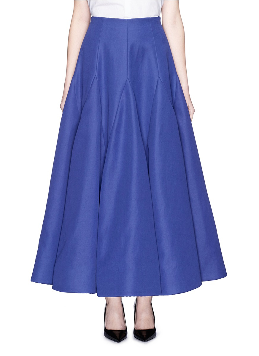 delpozo ramie cotton twill flare maxi skirt in blue lyst