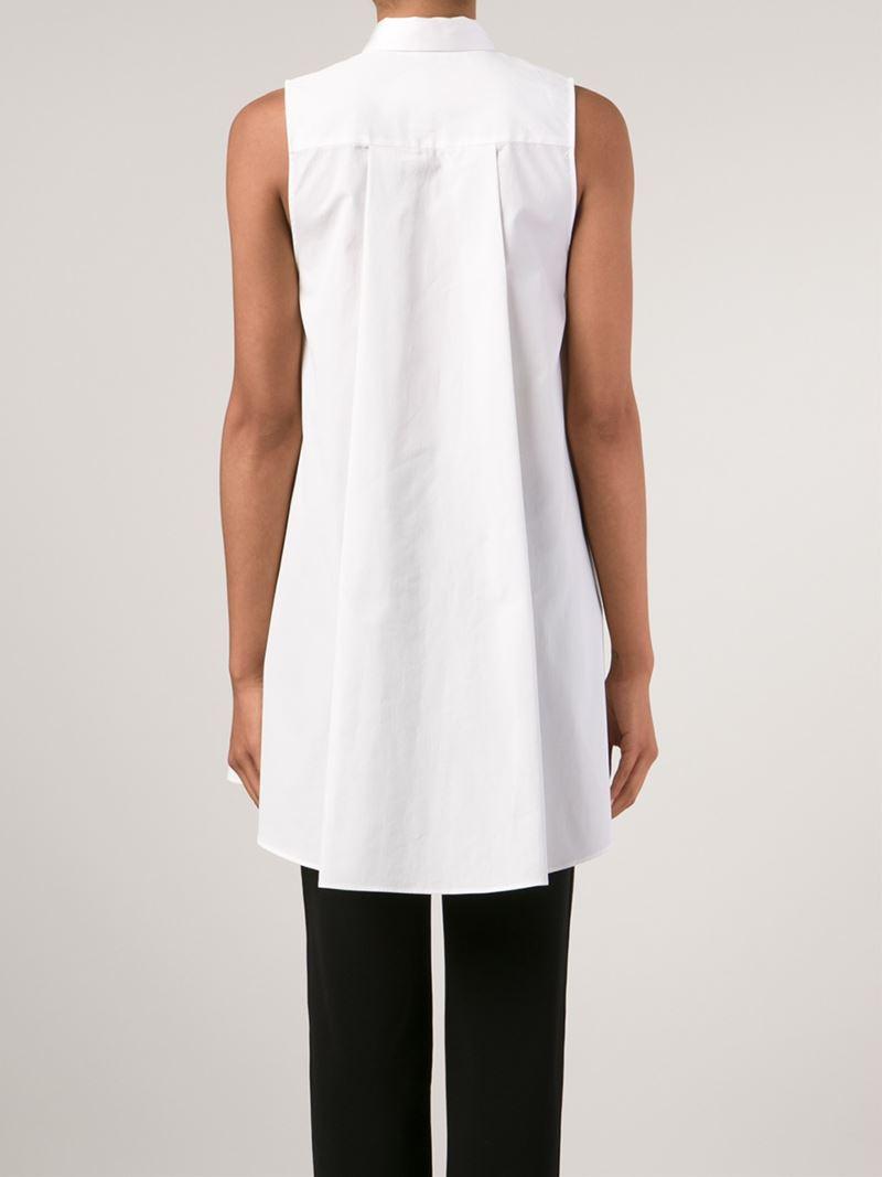 Lyst Alice Olivia Long Sleeveless Shirt In White
