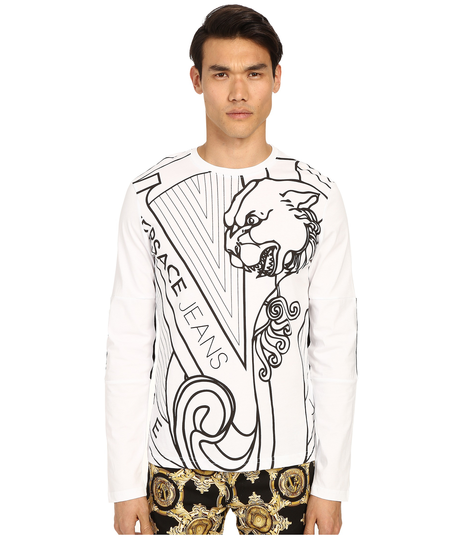 99f98ccd Versace Jeans Big Tiger Logo Long Sleeve T-shirt in Gray for Men - Lyst