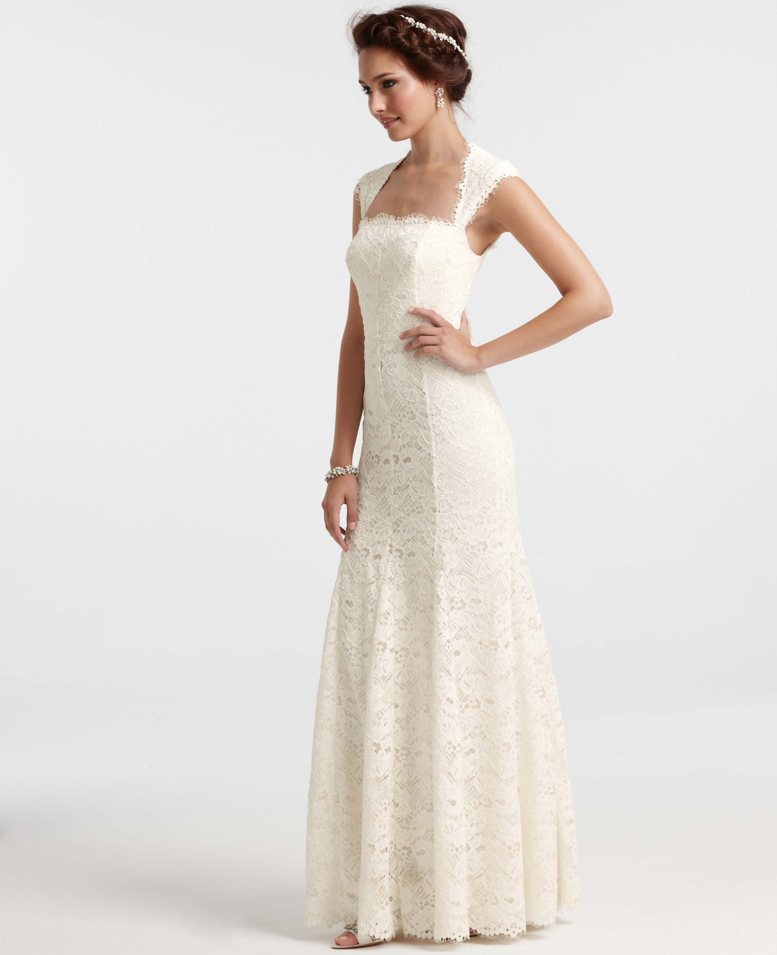 Ann taylor isabella lace wedding dress in white lyst for Wedding dresses ann taylor